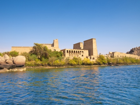 Isis Temple of Philae Island  Panoramic from Nasser lake  Egypt