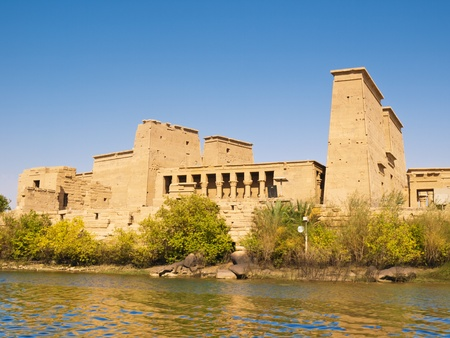 Isis Temple of Philae Island  Panoramic from Nasser lake  Egypt photo