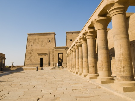 Main court of Isis Temple in Philae Island  Egypt