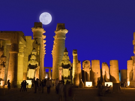 thebes: Luxor temple under moonlight, Thebes  Egypt Stock Photo