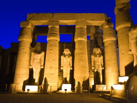 thebes: Sculptures in the main court of Luxor temple, Thebes  Egypt