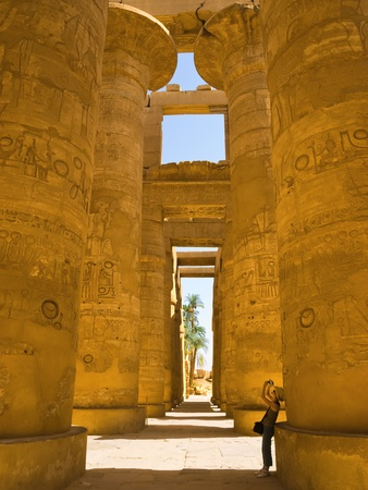 Recording the hypostyle hall of Karnak Temple  Thebes photo