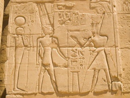 thebes: Hieroglyphics at Karnak Temple  Thebes  Egypt Editorial