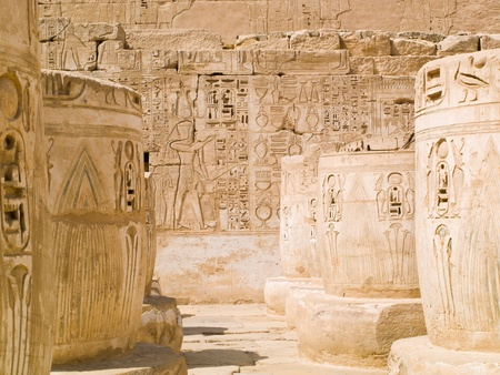 thebes: Medinet Habu Temple  Hypostyle hall  Thebes  Egypt