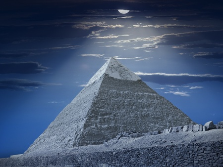 Pyramid of Chephren under moonlight, Egypt Stock Photo