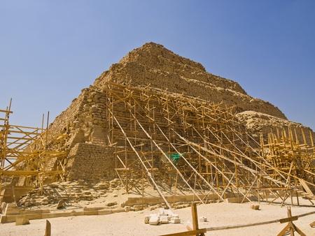 djoser: Restoration work in the Great step pyramid of Djoser, Saqqara