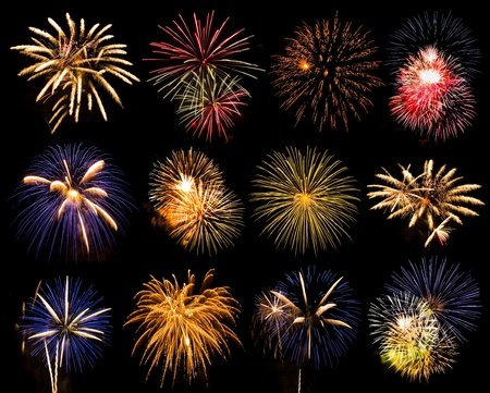 selection of twelve colorful fireworks on black photo