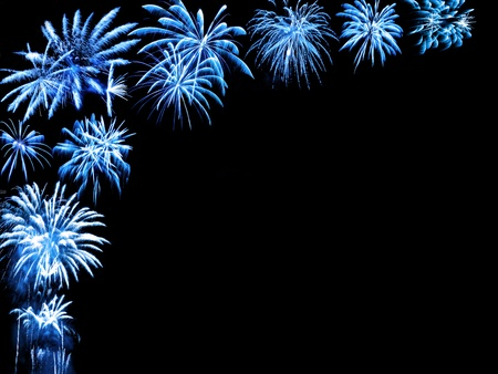 Blue fireworks as a partial frame on black photo