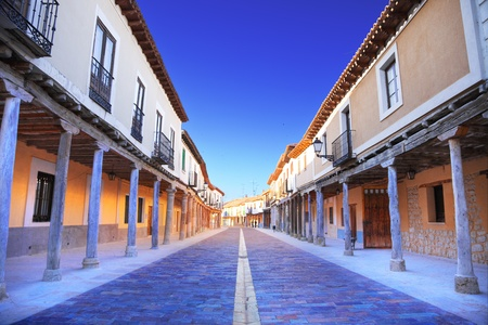 palencia province: Old Ampudia s arcades street, province of Palencia, Spain Editorial