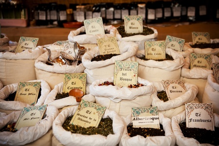 asian foods: Vintage tea market with bags of different varieties