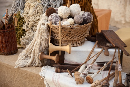 vintage tools and natural wool to make ecological clothing