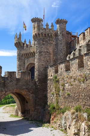 Medieval gate in the templar castle of Ponferrada, province of Leon, Spain
