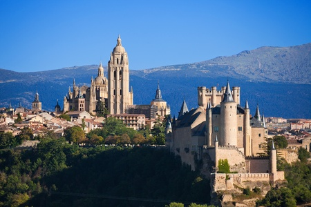 Panoramic of Segovia, Spain. Can see the Alcazar and the Cathedral