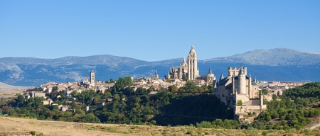 segovia: Panoramic of Segovia, Spain  Can see the entire downtown with Alcazar, the Cathedral and Sierra de Guadarrama as background