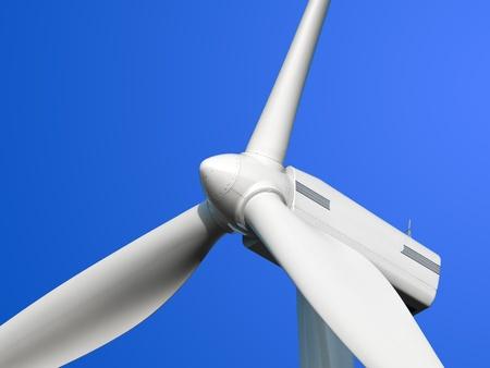 青い空を背景に風車の詳細