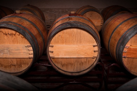 Wine barrels in an aging cellar of Ribera del Duero, Spain photo