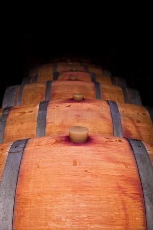 Wine barrels in an aging cellar of Ribera del Duero, Spain photo