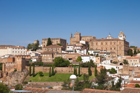monumental: Panoramic of Caceres, monumental dowtown in a sunny summer day, Spain