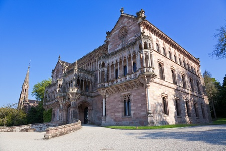 santander: Palace of Sobrellano and church in Comillas, Santander, Spain