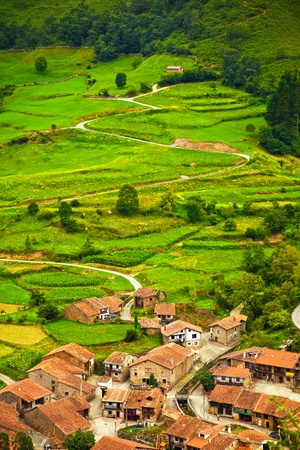 cantabria: Aerial view of a typical town in Saja Valley, Cantabria, Spain Stock Photo