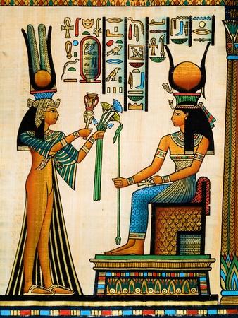 イシスに供物を作る女王ネフェルタリを描いたエジプトのパピルス