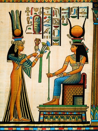 Egyptian papyrus depicting Queen Nefertari making an offering to Isis photo