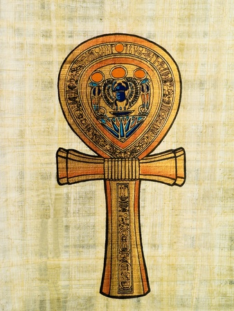 Egyptian papyrus depicting the Ankh or Key of life photo