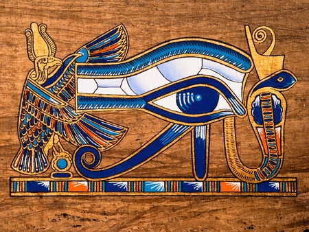 scribes: Egyptian papyrus depicting the Horus eye Stock Photo