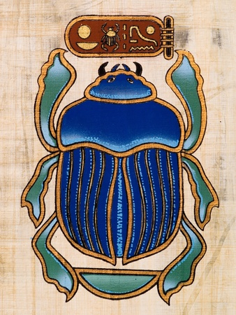 Egyptian papyrus depicting a beetle photo