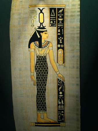 scribes: Egyptian papyrus depicting a woman Stock Photo