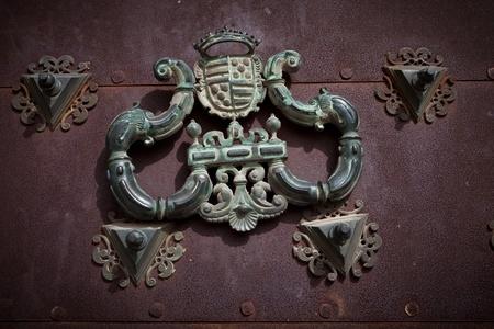 cuenca: antique door knocker in Cuenca Cathedral, Spain