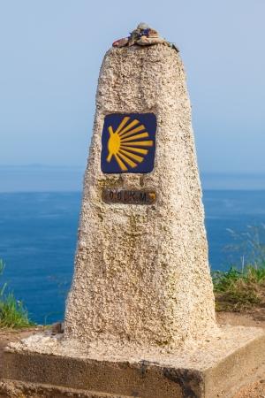 camino de santiago: 0 km, last end of The Camino de Santiago, in the cape of Finisterre, province of La Coruna, Spain