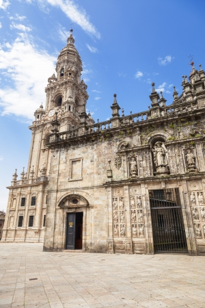 East facade of Santiago de Compostela cathedral and tower bell  This facade is called  Cabecera  or  de la Quintana  photo