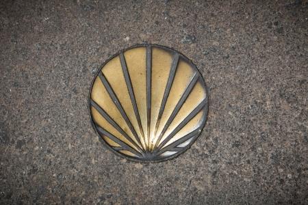 Shell symbol of the Camino de Santiago   Santiago de Compostela, Spain Stock Photo - 17534017