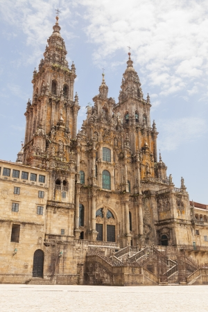 Santiago de Compostela cathedral, facade del Obradoiro empty of people at a summer day Stock Photo - 17475997