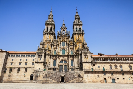 santiago de compostela: Santiago de Compostela cathedral, facade del Obradoiro empty of people at a summer day Stock Photo