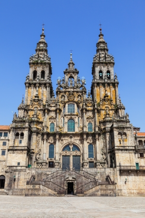 Santiago de Compostela cathedral, facade del Obradoiro empty of people at a summer day Stock Photo