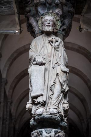 camino de santiago: Santiago de Compostela cathedral  Santiago sculpture in the Portico de la Gloria
