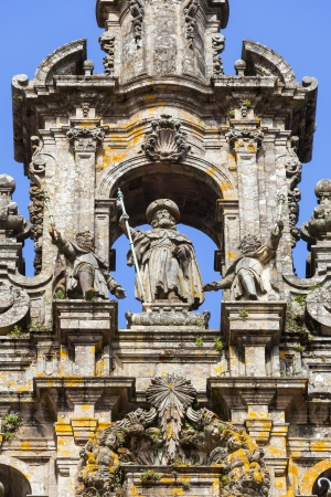 Santiago de Compostela cathedral  Santiago sculpture on the top of the Facade del Obradoiro photo