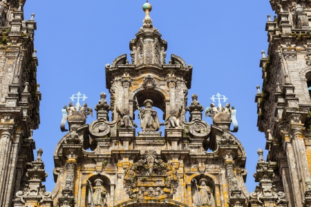 xacobeo: Santiago de Compostela cathedral  Santiago sculpture on the top of the Facade del Obradoiro Stock Photo