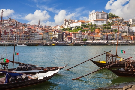 ribeira: Panoramic of old Porto from Douro River, Portugal