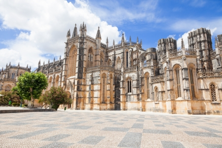Gothic facade of Batalha monastery, Portugal  UNESCO World heritage photo