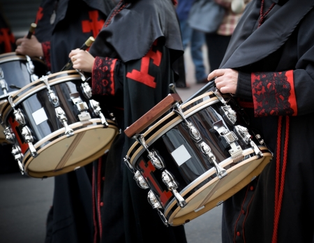 procession: Nazarenos drummers in the Holy Week of Valladolid, Spain Editorial