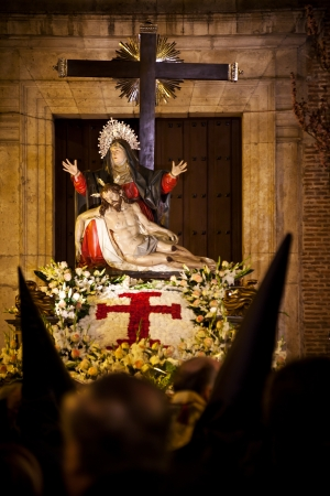 procession: La Quinta Angustia its one of the most representative figures in the Holy Week of Valladolid, Spain