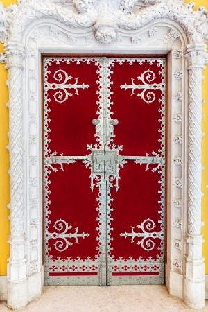 ornated: Ornated door inside Quinta da Regaleira in Sintra, Portugal