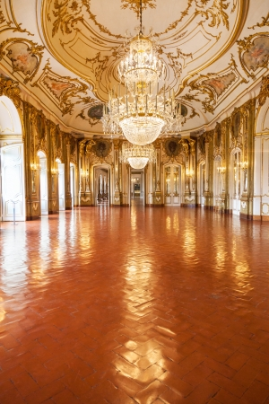 vintage mansion: Queluz, Portugal - July 4, 2012: The Ballroom of Queluz National Palace, in the municipality of Sintra, Lisbon district, Portugal
