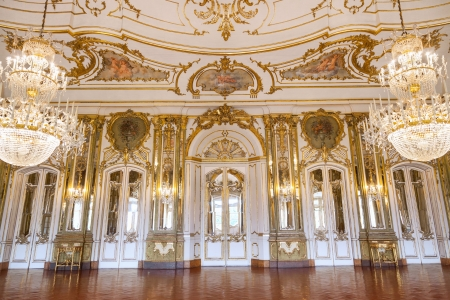 lisboa: Queluz, Portugal - July 4, 2012: The Ballroom of Queluz National Palace, in the municipality of Sintra, Lisbon district, Portugal
