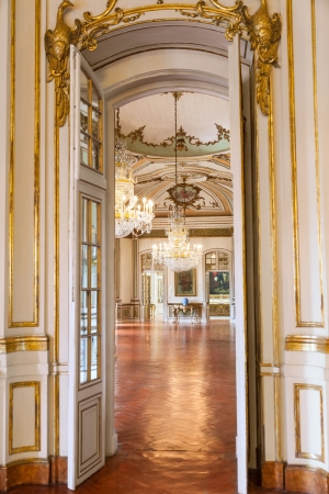 Queluz, Portugal - July 4, 2012: Luxury interiors of Queluz National Palace, in the municipality of Sintra, Lisbon district, Portugal