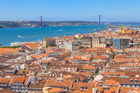 Bird view of Lisboa downtown  Panoramic of Baixa, Rossio and Chiado rooftops, with the Tagus river and bridge at the background  Portugal photo
