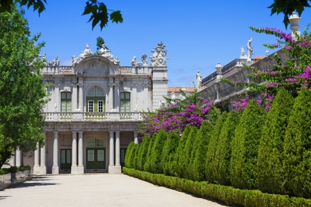 lisboa: Queluz, Portugal - July 4, 2012: The south front of the Robillon wing in Queluz National Palace, in the municipality of Sintra, Lisbon district, Portugal